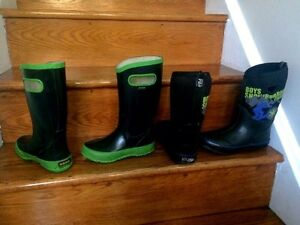Used Kids Boots Size 1 Green and Size 2 Black