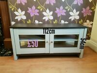Soft grey and walnut corner tv media unit