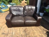 X2 Brown Leather Two Seater Sofa's