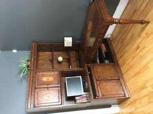 Sold wood desk and shelving units