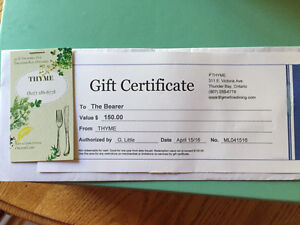 Thyme Restaurant Gift Certificate for sale