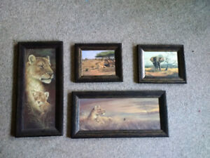 Wall Art: African Wildlife Art Collection (4 pieces)