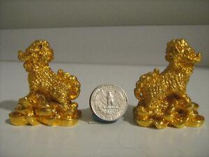 2 figurines kilin dragon chine métal plein plaqué or 24 carats