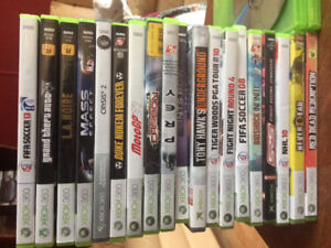 Xbox360 2 controllers and 22 games. Can deliver.
