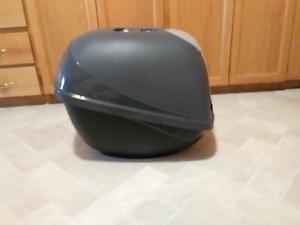 Used litter box and pet hair brush