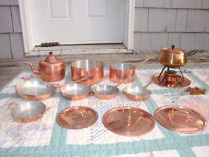 Vintage Copper Pots Fry Pan Fondue Tea Kettle and Covers