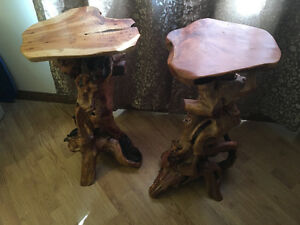 Set of Two Natural Burl Chinese Drift Wood Tables