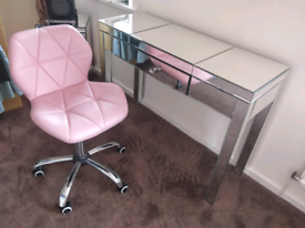 Glass mirror dressing table with chair