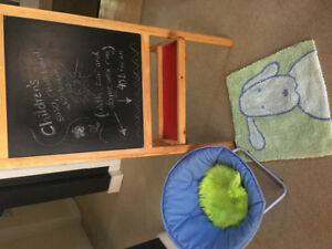 Children's Easel, Chair and Area Rug