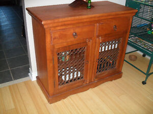 SOLID WOOD & WROUGHT IRON SIDEBOARD