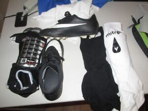 soccer cleat size 2 and shin pads