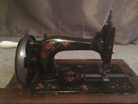 ANTIQUE VICTORIAN GERMAN SEWING MACHINE IN ORIGINAL WOODEN CASE & WORKING ORDER Broue