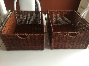 Two square brown baskets  13 inches by 15 inches $10 for both Ph
