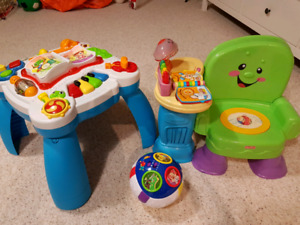Play table, play chair, and the music, alphabet ball!