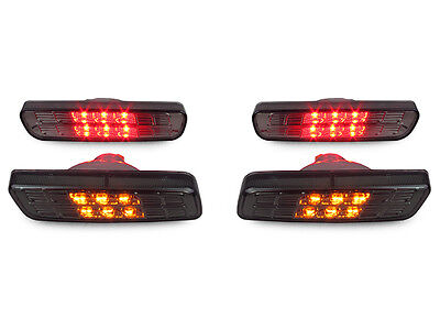 Crystal Smoke Front Amber+Rear Red LED Bumper Side Markers For 01-05 Lexus IS300 Amber Front Marker
