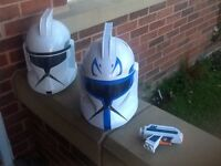 Star Wars helmets x 2 including star wars pistol.