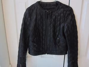 ZARA black Lambskin Leather Jacket - Size Small - Like New!