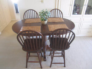 Real Wood :Raised Dining /Kitchen pub style table,chairs ---SOLD