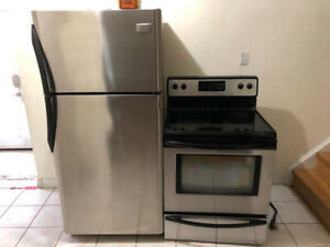 2 piece stainless steel kitchen appliance fridge stove selling
