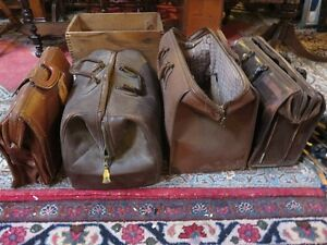 ANTIQUE FOUR DOCTORS BAGS LEATHER SELLING ALL TOGETHER