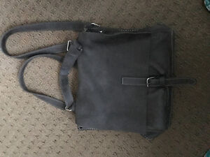 Roots Gray leather back pack bag Kitchener / Waterloo Kitchener Area image 3