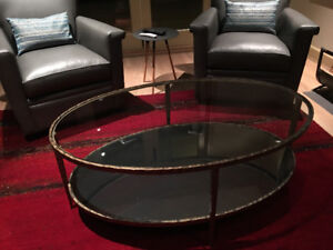 Beautiful Crate and Barrel Oval Glass/Bronze Coffee Table