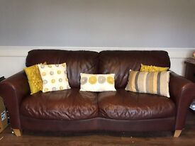 Chocolate brown real leather 3 seater sofa
