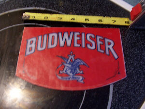 Vintage Glass Budweiser Sign from Beer Tap 7 inches by 4.5 Inch