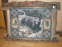 """The bear"" tapestry on wood frame"