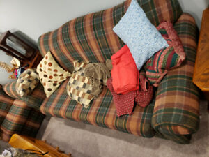 Couch and Loveseat for Sale - Who doesn't like plaid?