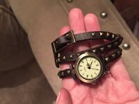 Leather wrap bracelet / watch