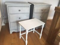 X2 Shabby Chic Bedside Tables with option of side table