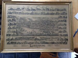 1890 Lunenburg D D Currie Illustrated Map with local buildings