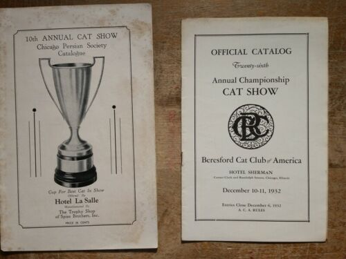 1930s Cat Show Programs Chicago La Salle Hotel & Hotel Sherman