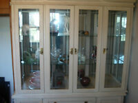 dining room table and hutch and 6 chairs