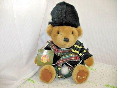 "Harrods Knightsbridge London England Stuffed Bear Kilt Bagpipes w/ Tag 12"" EUC"