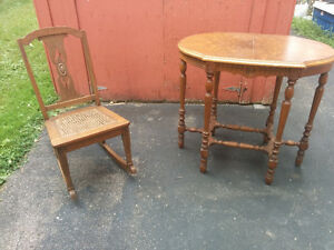 Old rocking chair, Table, Silverware box