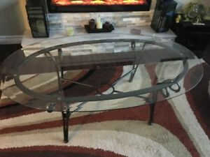 Glass & Rod Iron Coffee Table