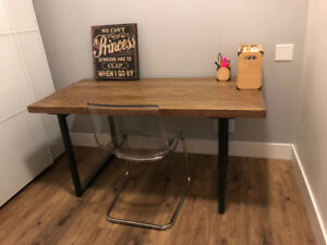Industrial Wood Top and Steel Frame Desk
