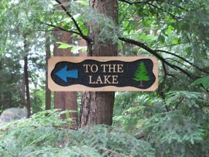 """Hand Carved Wooden """"To The Lake"""" Sign"""