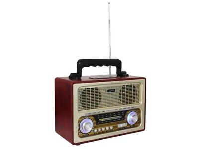 Supersonic SC-1198BT Vintage Retro 3-Band Rechargeable Radio +Bluetooth +USB/SD