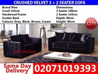 ***75%OFF TODAY *** Brand New Dylan Black 3 AND 2 Seater Sofa *** Trenton