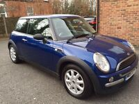 MINI ONE, BLUE , LONG MOT, SERVICE HISTORY, CHEAP TAX & INSURANCE.