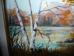 """Charming Roy Robson """"By The Birches"""" Original Oil Painting 1989 Stratford Kitchener Area image 9"""