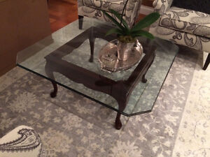 coffee table, glass top