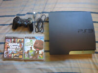 Playstation 3 with 1 wireless controller, GTAV & LBP2