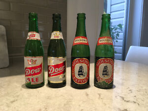 Vintage beer bottles from the 50s