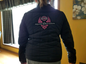 Womens fall jacket with Harley Davidson patches