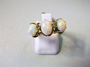 Fire Opal 3 Stone and Diamond 14K Gold Ring