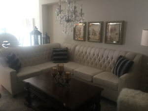 Custom Sectional Sofa Ivory with crystals